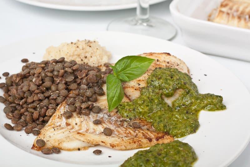 Zdrowa ryba z soczewicami i Couscous zdjęcia stock