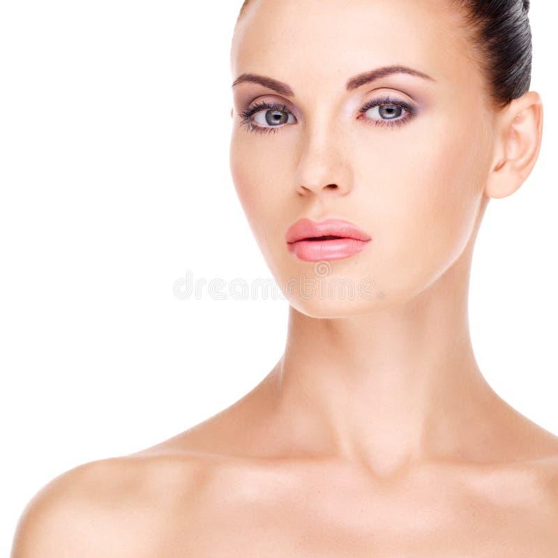 Zdrowa twarz piękna kobieta obraz stock