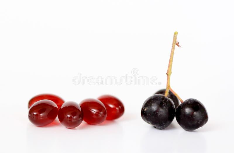 Zdrowe żywe pojęcia, chokeberry i krill nafciane kapsuły, zdjęcie stock