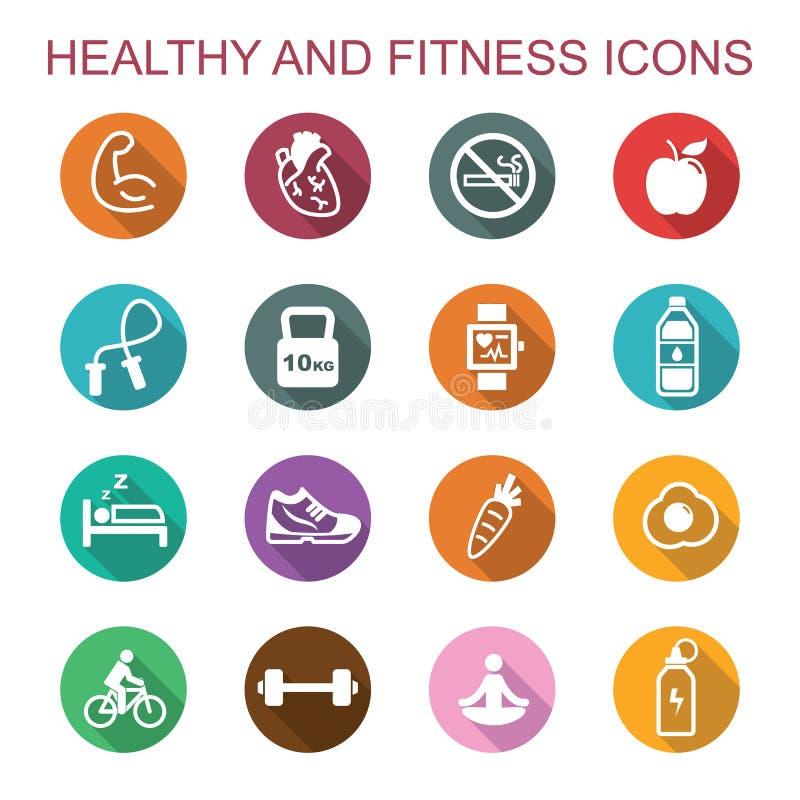 Zdrowe i sprawność fizyczna długie cienia ikony royalty ilustracja