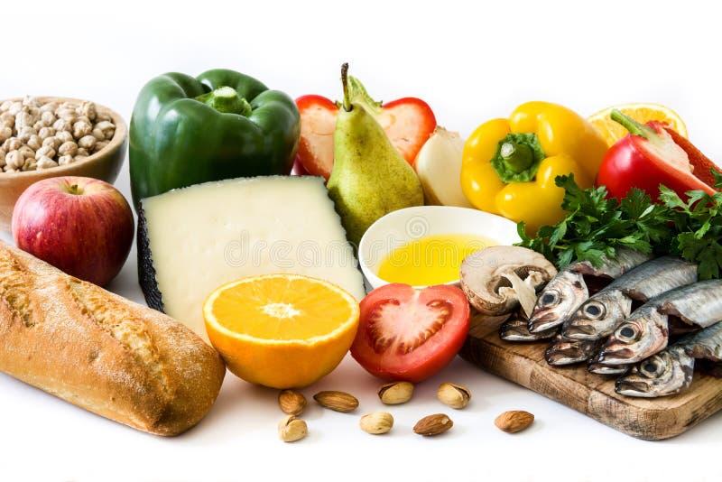 zdrowe jeść dieta śródziemnomorska Owoc i warzywo odizolowywający obrazy stock