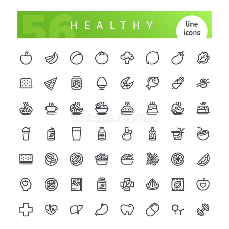 Zdrowe jedzenie linii ikony Ustawiać royalty ilustracja