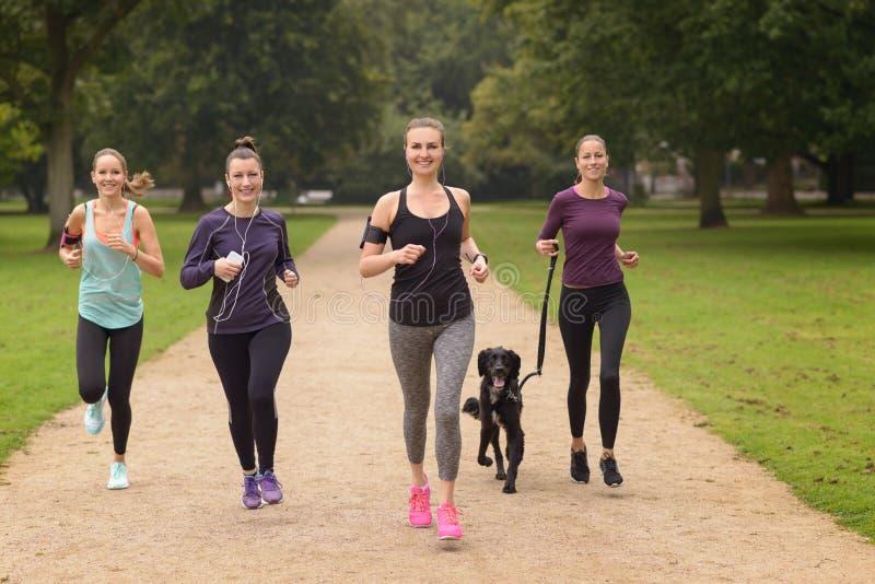 Zdrowe kobiety Jogging przy parkiem z psem zdjęcie royalty free
