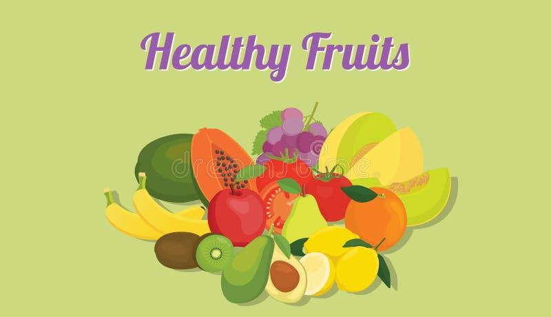 Zdrowe owoc inkasowe z colourfull kolorem i różnorodną owocową wektorową grafiką royalty ilustracja