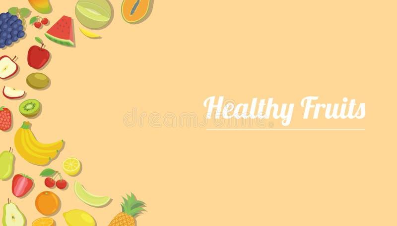 Zdrowe owoc z różnorodną owoc dla szablonu sztandaru z żółtym nowożytnym koloru mieszkania stylem z bezpłatną przestrzenią dla te ilustracja wektor