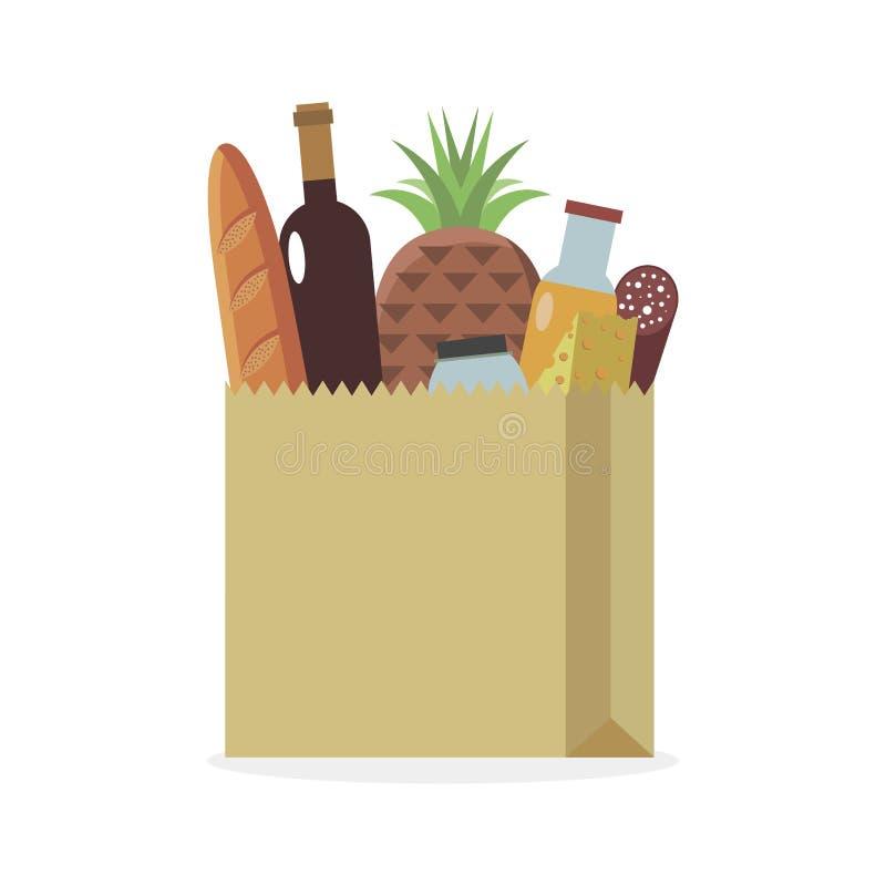 Zdrowe produkty spożywcze w opakowaniach papierowych fotografia stock