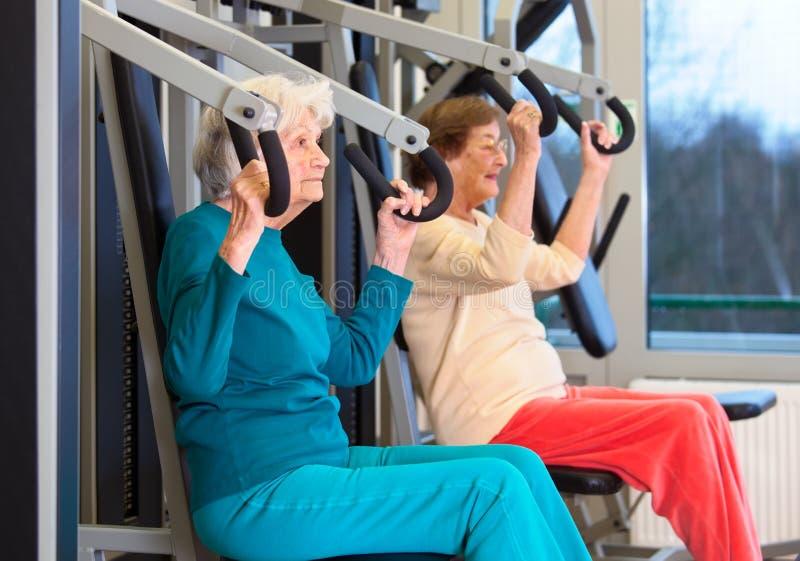 Zdrowe Starsze damy w klatki piersiowej prasy ćwiczeniu obrazy stock