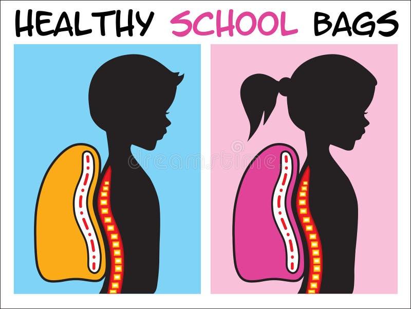 Zdrowe szkolne torby ilustracja wektor