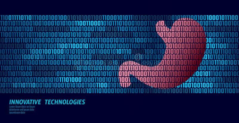 Zdrowego żołądka przetrawienia wewnętrzni organy binarnego kodu dane przepływ Doktorski online nowatorski technologia wektor ilustracji