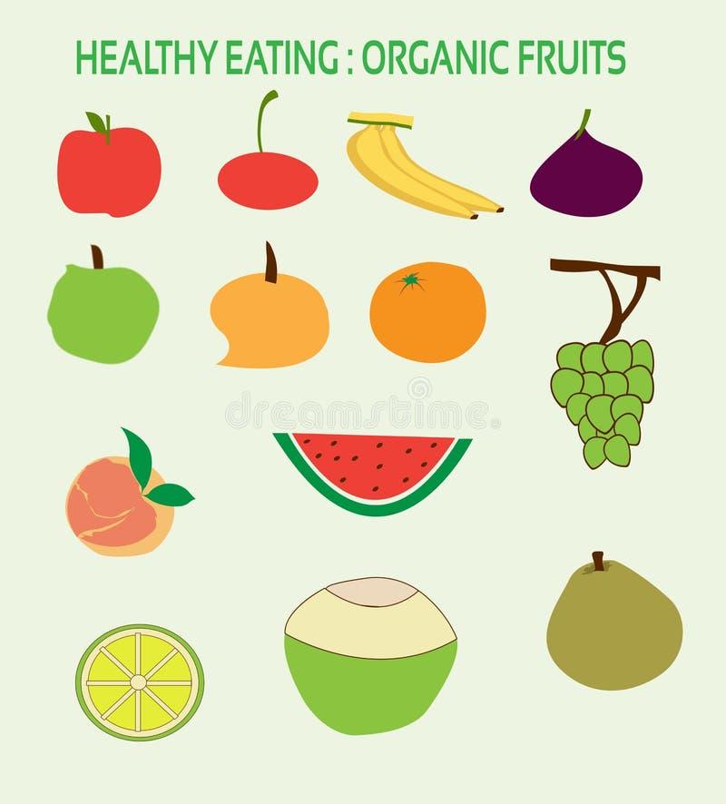 Zdrowego łasowania Organicznie owoc dla Zdrowego życia ilustracji