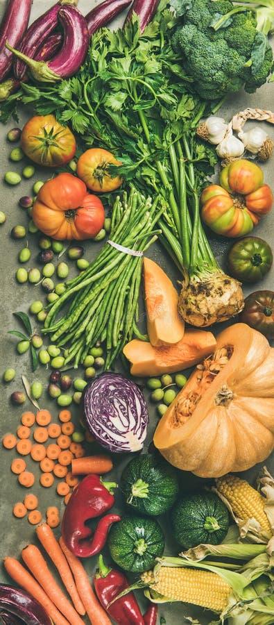 Zdrowego jarskiego spadku karmowi kulinarni składniki od miejscowego wprowadzać na rynek zdjęcie stock
