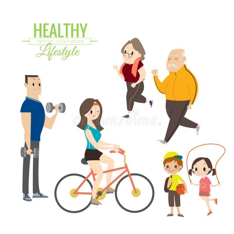 Zdrowego stylu życia szczęśliwy rodzinny ćwiczyć royalty ilustracja