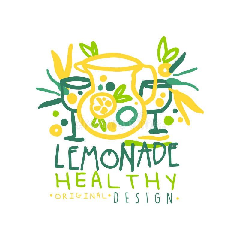 Zdrowej lemoniady projekta oryginalny logo, naturalnego produktu odznaka, świeża ręka rysująca napój wektorowa ilustracja ilustracja wektor