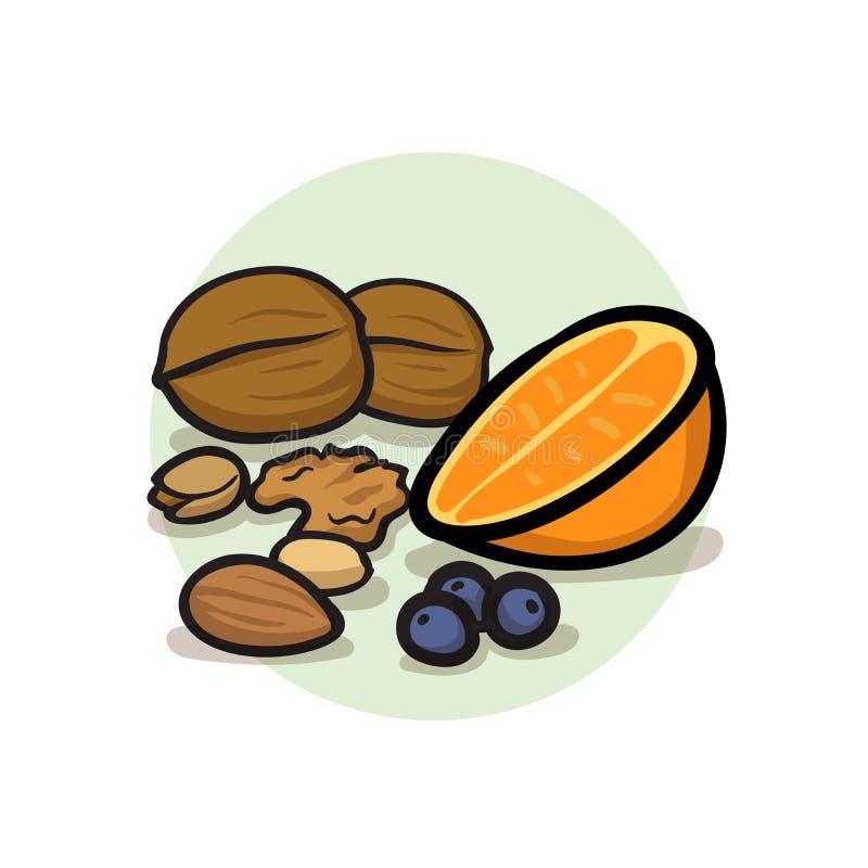 Zdrowej wysokiej włókno diety pojęcia karmowe jagody, owoc, warzywa, dokrętki i ziarna, Super foods wysocy w przeciwutleniaczach  ilustracji