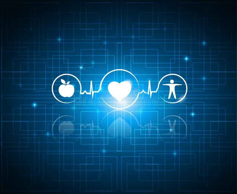 Zdrowi żywi symbole na technologii tle ilustracji