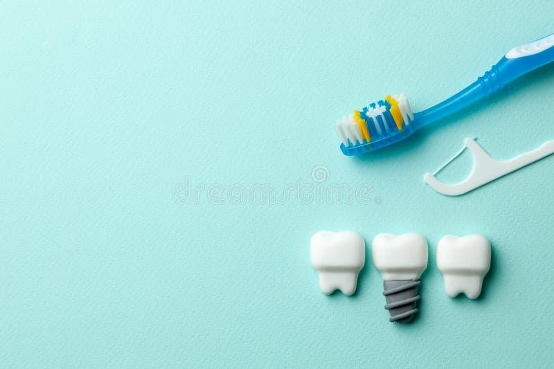 Zdrowi biali z?by i wszczepy na mennicie zieleniej? t?o z toothbrush i stomatologicznym floss Odbitkowa przestrze? dla teksta zdjęcia royalty free