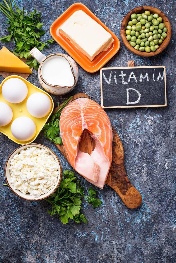 Zdrowi foods zawiera witamina d obrazy stock