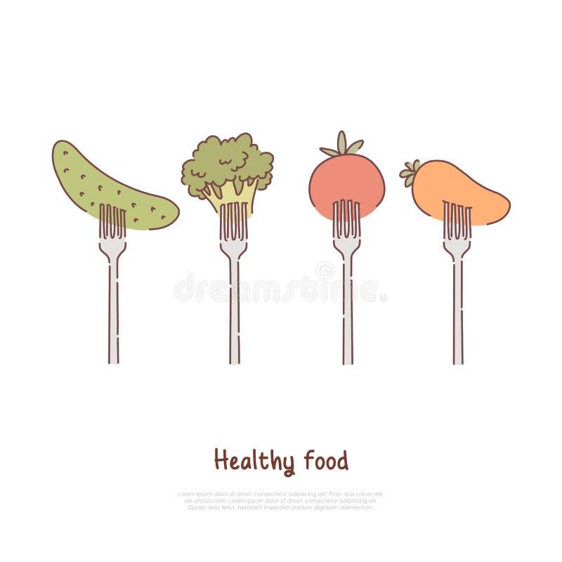 Zdrowi jedzenia, łasowania, surowych i odparowanych warzywa, ogórek, brokuły, pomidor, marchewka na rozwidlenie sztandarze ilustracji