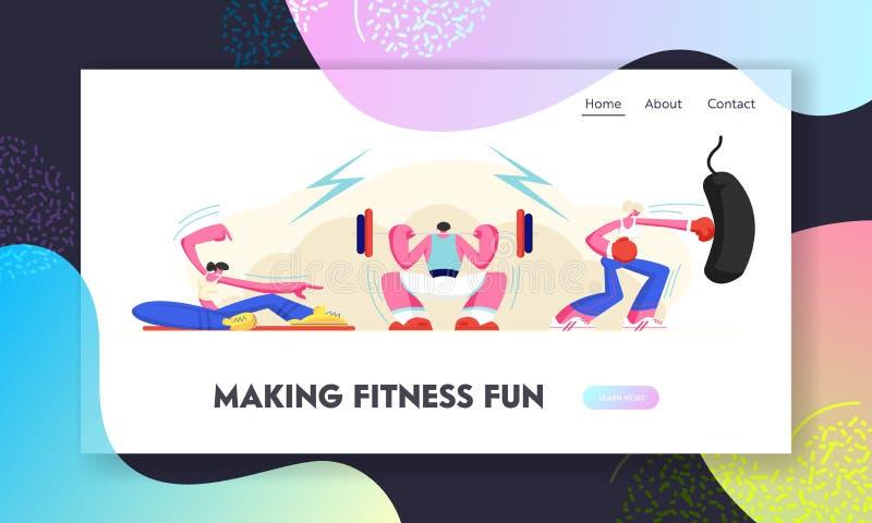 Zdrowi ludzie Ćwiczy w Gym Powerlifting mężczyzny dosunięcia Dumbbell, Pilates dziewczyny sporta sprawności fizycznej szkole ilustracji