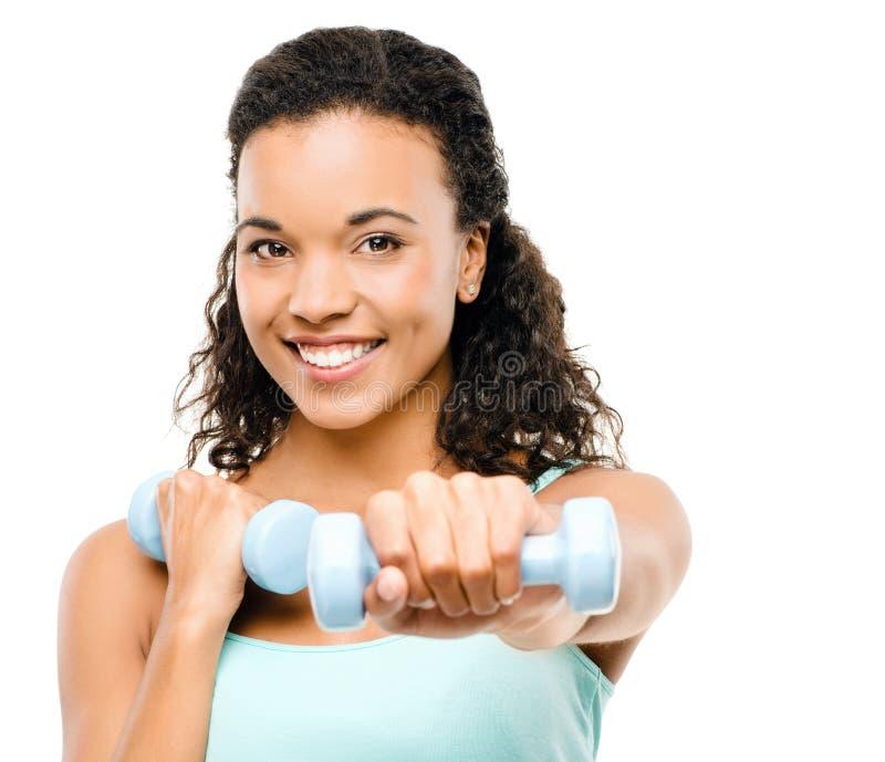 Zdrowi potomstwa mieszam biegowy kobiety ćwiczyć odizolowywam na bielu obrazy royalty free