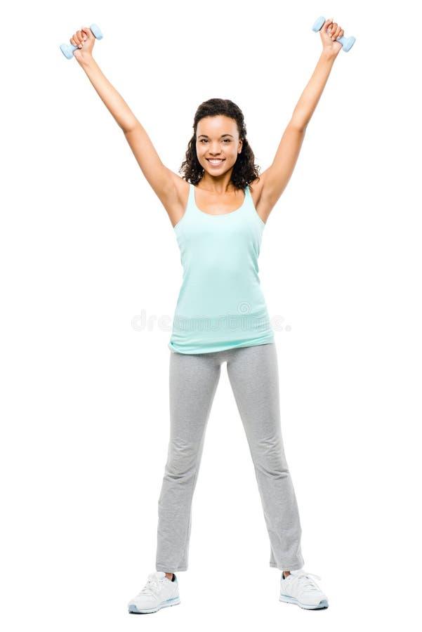 Zdrowi potomstwa mieszam biegowy kobiety ćwiczyć odizolowywam na bielu plecy obrazy royalty free
