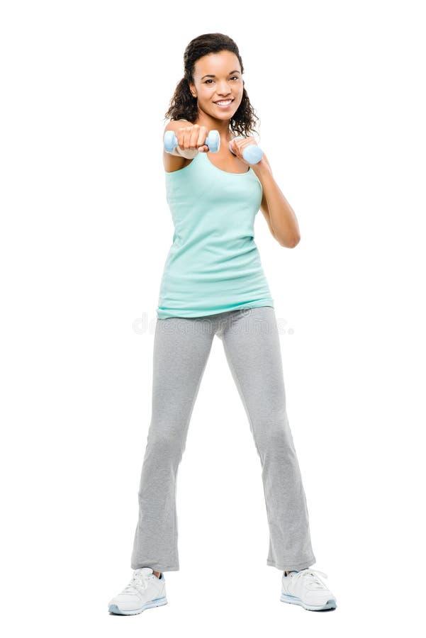 Zdrowi potomstwa mieszam biegowy kobiety ćwiczyć odizolowywam na bielu plecy obrazy stock
