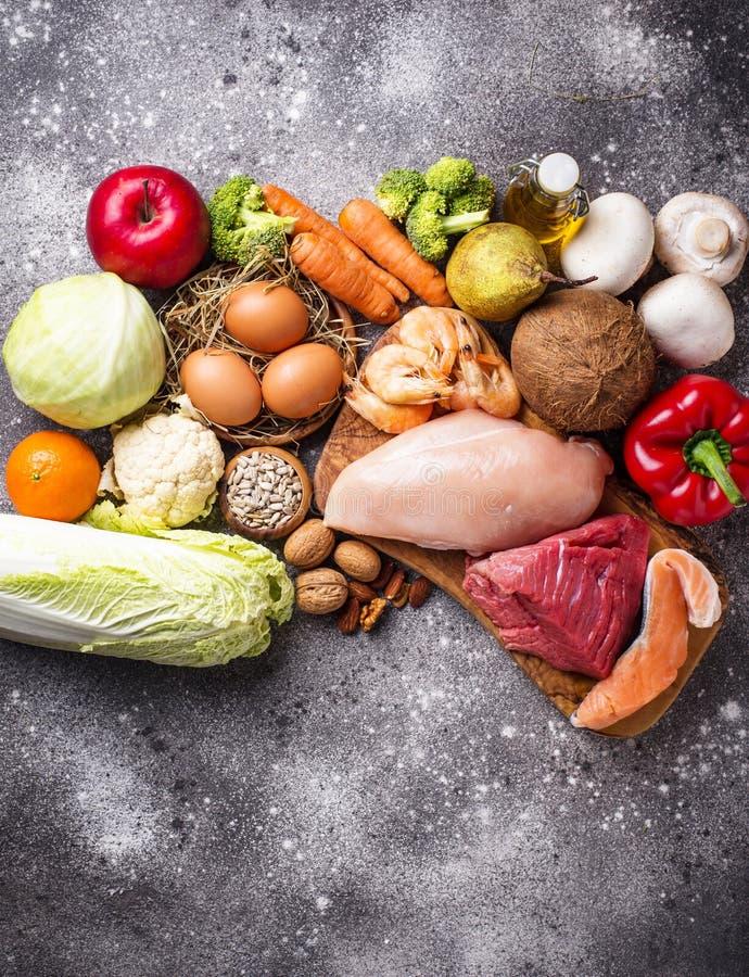 Zdrowi produkty dla paleo diety zdjęcia royalty free