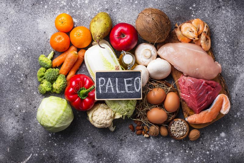 Zdrowi produkty dla paleo diety obraz stock