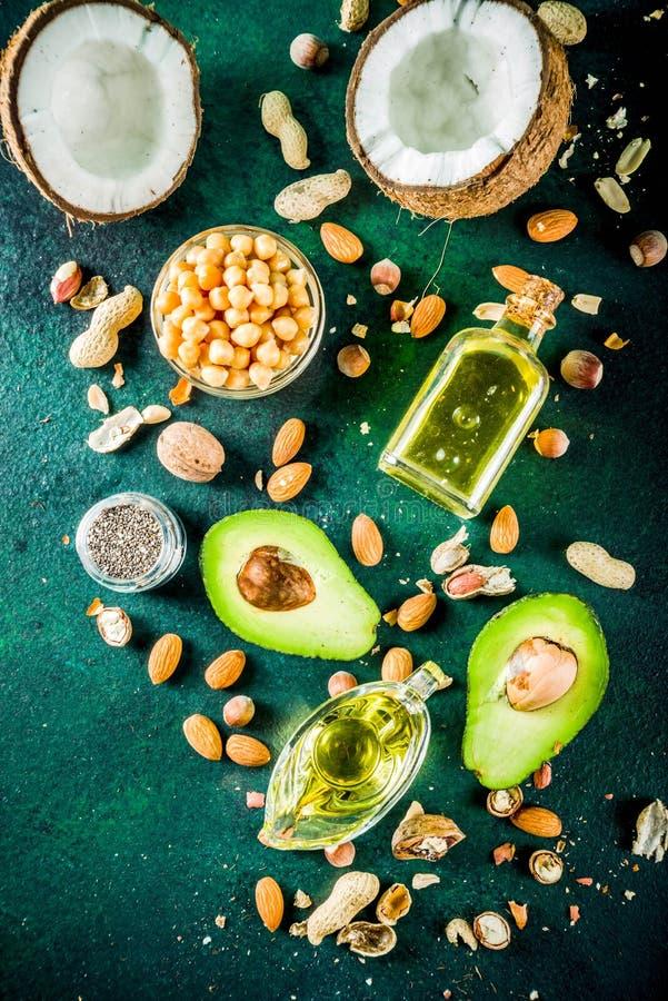 Zdrowi weganinu sadła źródła fotografia stock