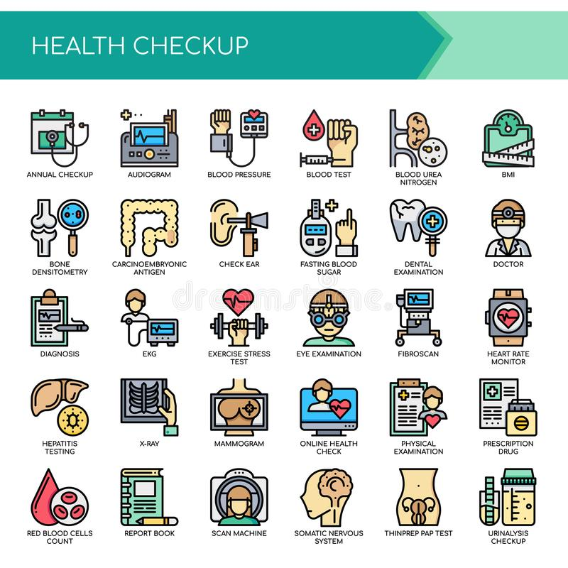 Zdrowia Checkup, piksel Perfect ikony ilustracji