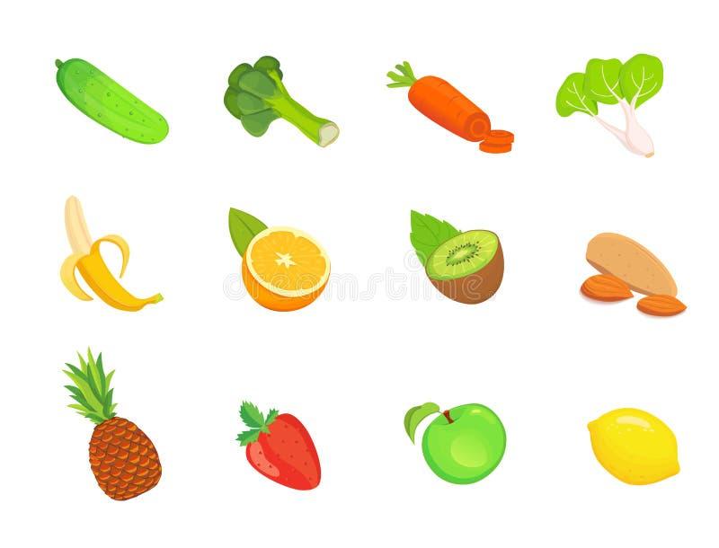 Zdrowia jedzenia mieszkania ilustracje ilustracji
