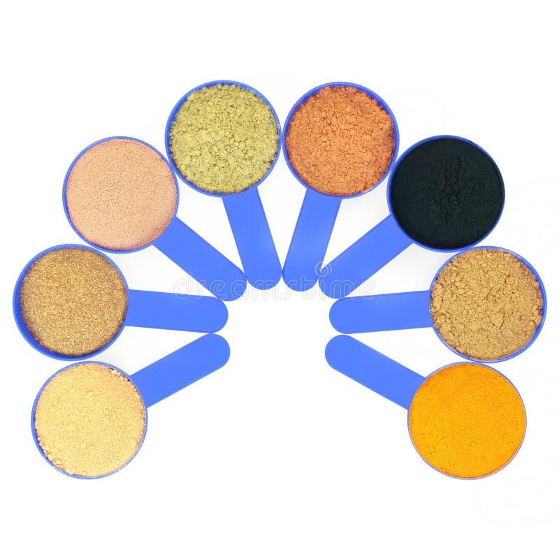 Zdrowia jedzenia nadprograma proszki dla ciało budowniczych obraz stock