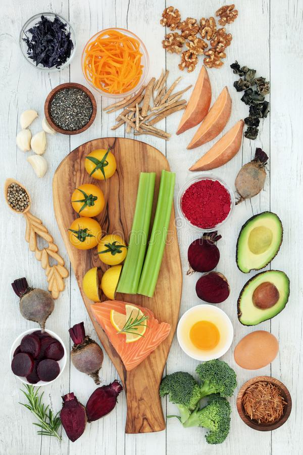 Zdrowia jedzenie dla Lepszy Móżdżkowej władzy obraz stock