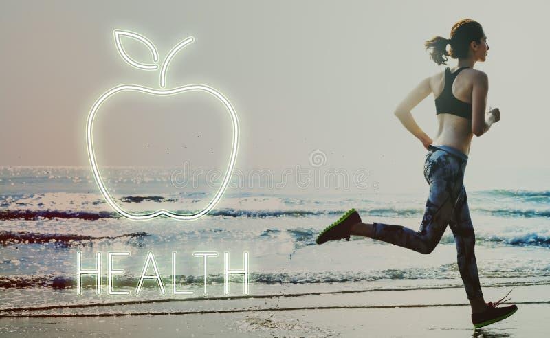 Zdrowia odżywiania Jabłczanego Zdrowego łasowania Organicznie pojęcie obraz royalty free