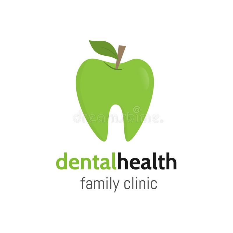 zdrowia osób wykonujących Zębu logo jako zielony jabłko z liściem Stomatologiczny rodzinny klinika logotyp Wektorowi zęby ilustracja wektor