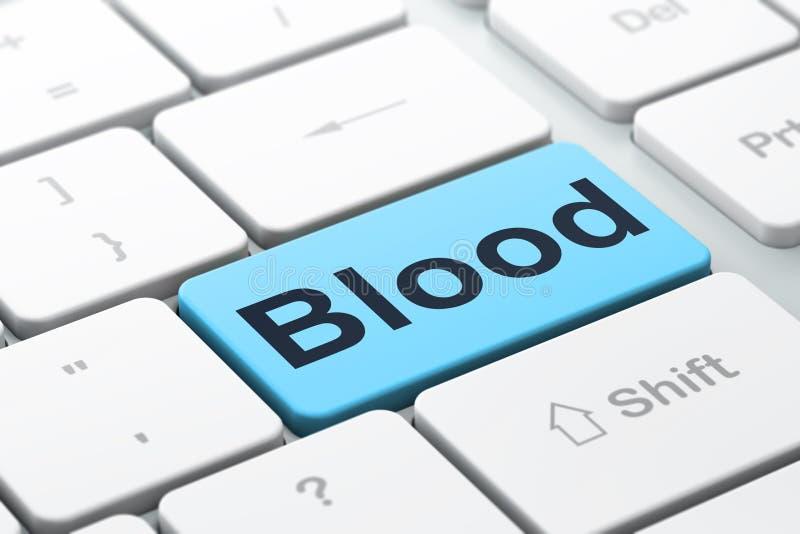 Zdrowia pojęcie: Krew na komputerowej klawiatury tle royalty ilustracja