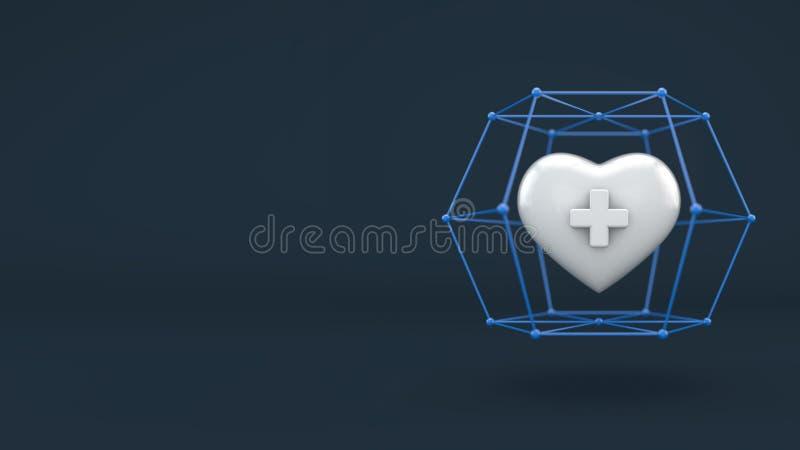 Zdrowia ubezpieczenie na życie biznesowy pojęcie, serce w ochronie