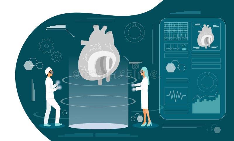 Zdrowie holograma pojęcie podciśnienie i Wysoki - cholesterolu ciśnienie krwi ilustracja wektor