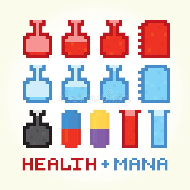 Zdrowie i mana ikony ilustracji