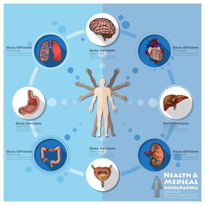 Zdrowie I Medyczny Infographic Infocharts nauki tło ilustracji