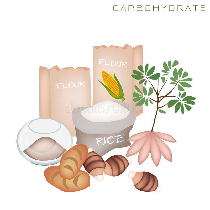 Zdrowie i odżywiania korzyści Węglowodanowy jedzenie ilustracja wektor