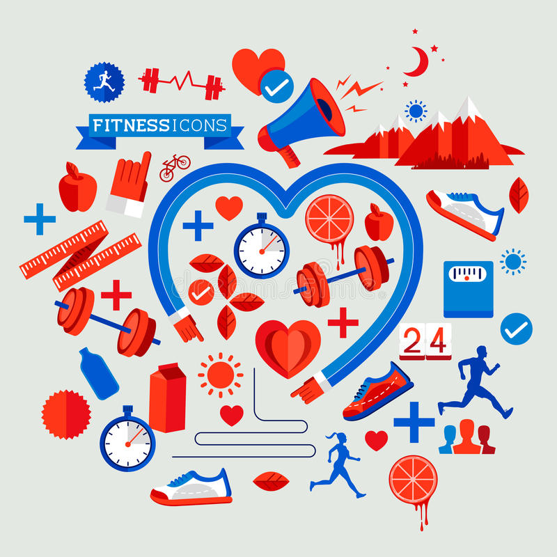 Zdrowie i sprawności fizycznej elementy ilustracji