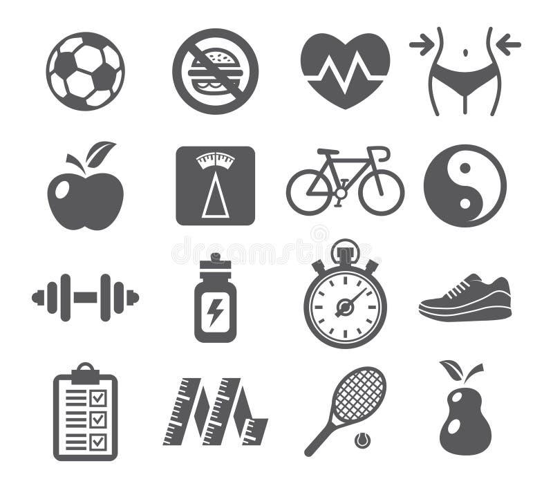 Zdrowie i sprawności fizycznej ikony ilustracja wektor