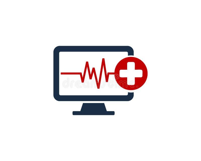 Zdrowie ikony loga projekta Medyczny Komputerowy element royalty ilustracja