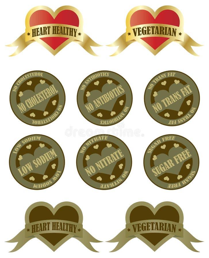 Zdrowie Jedzenia Etykietki royalty ilustracja