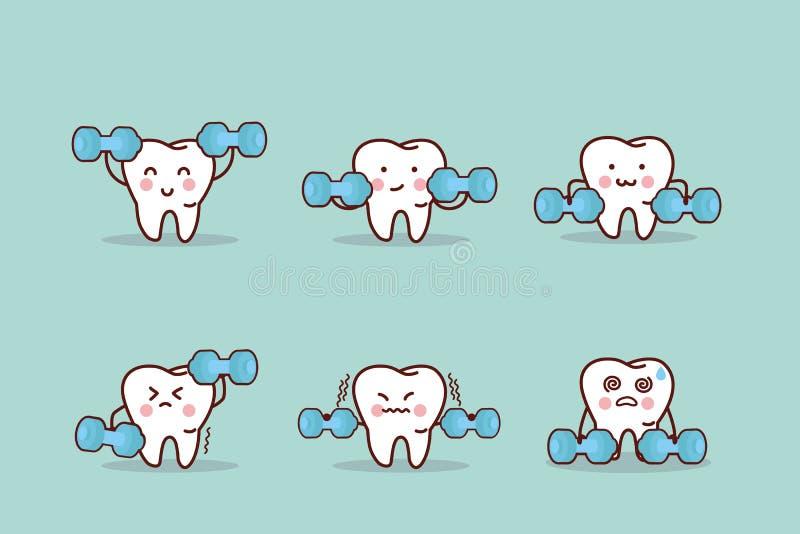 Zdrowie kreskówki ząb z dumbbell royalty ilustracja