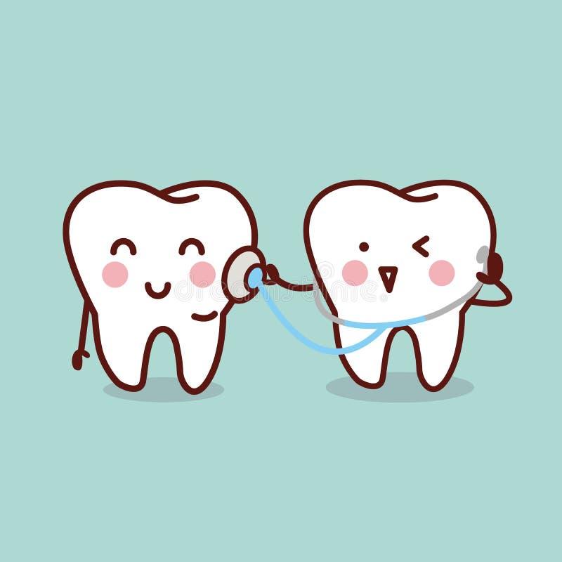 Zdrowie kreskówki ząb z stetoskopem ilustracji