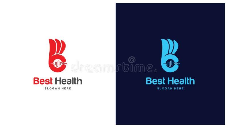 Zdrowie loga projekta pojęcie, Różni typ zdrowie logowie, Prosty loga projekta wektor ilustracja wektor