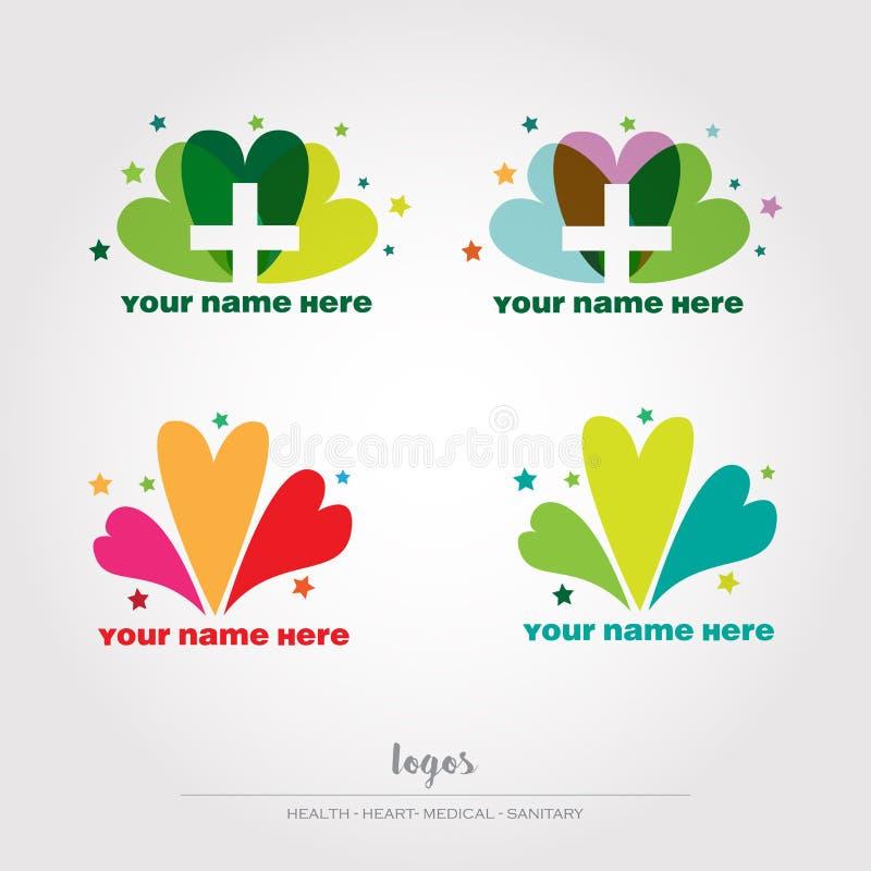 Zdrowie, medyczni, sanitay logowie, vectorial kartoteka ilustracja wektor