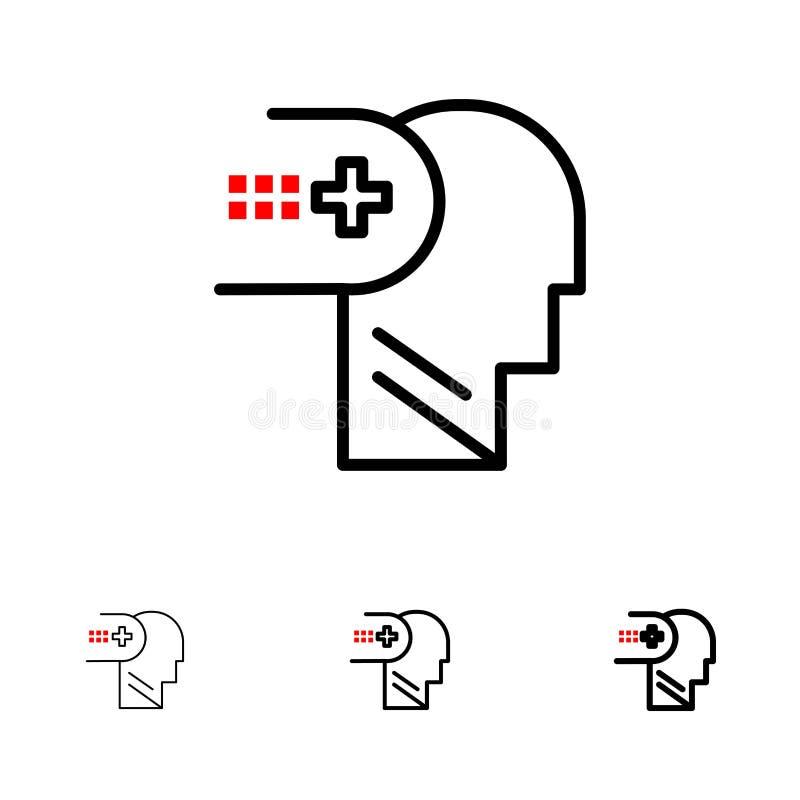 Zdrowie Medyczni, Umysłowy, Pamiętają Śmiałego i cienkiego czerni linii ikony set ilustracja wektor